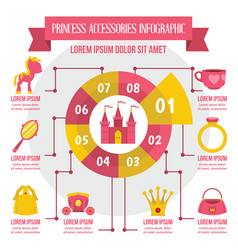 Princess accessories infographic flat style vector