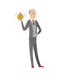 Senior caucasian businessman holding alarm clock vector