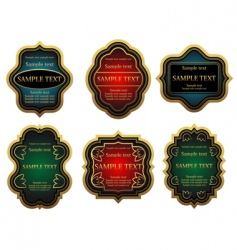set of golden vintage labels vector image