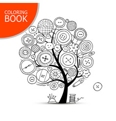 sewing crafts art tree page for your coloring vector image