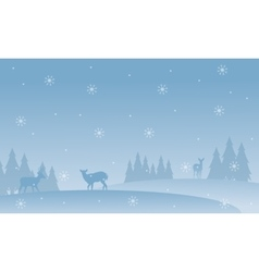 Silhouette of deer with snowflakes scenery vector