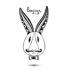 Stylish rabbit with mustaches hand drawing vector