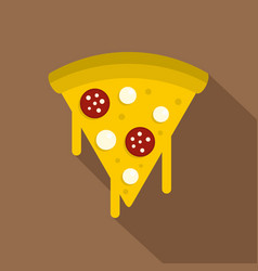 Tasty slice of pizza with melted cheese icon vector