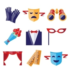 Theater performance decorative icons set vector