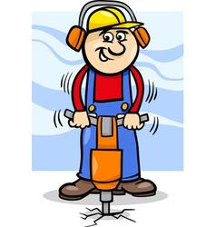 worker with pneumatic hammer cartoon vector image