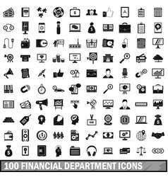 100 financial department icons set simple style vector image vector image