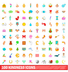 100 kindness icons set cartoon style vector image
