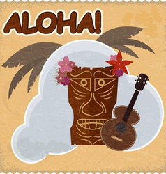 Vintage postcard with hawaiian elements eps10 vector