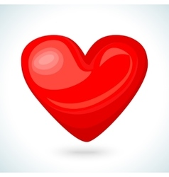 Cute shiny red heart icon isolated on white vector image