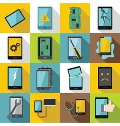 Device repair symbols icons set flat style vector image