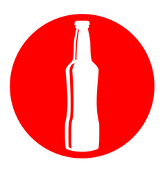 Beer bottle sign  white icon in red circle vector
