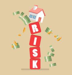 Real estate on shaky risk blocks vector