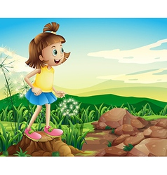 A young girl above the stump near the rocks vector image