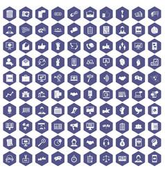 100 dialog icons hexagon purple vector