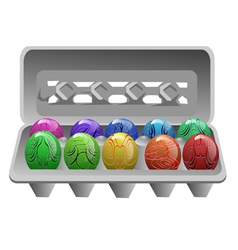 Carton with easter eggs vector
