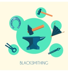 Blacksmith basic symbols emblems poster vector