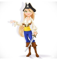 Cute pirate girl with cutlass vector