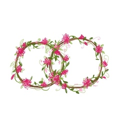 Floral wedding rings for your design vector image