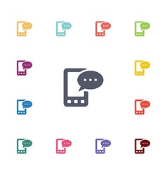 Mobile message flat icons set vector