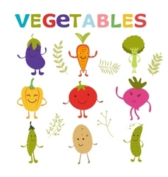 Adorable vegetable cartoon characters set vector