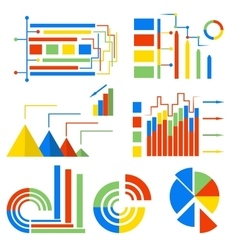 Set isolated icons charts vector