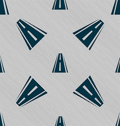Road icon sign seamless pattern with geometric vector