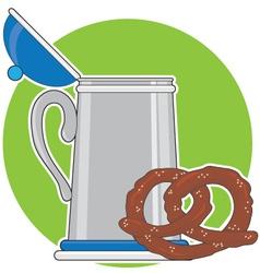 beer and pretzel vector image