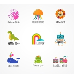 Kids children icons and logos childhood elements vector
