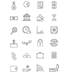 Black finance icons set vector
