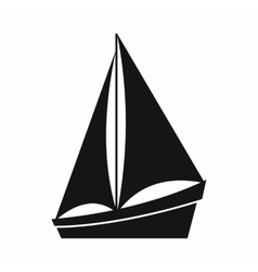 Small yacht icon simple style vector