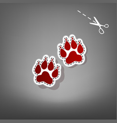 Animal tracks sign red icon with for vector