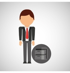 Archive file business man suit worker icon vector