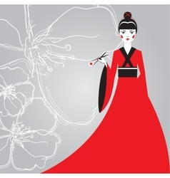 Beautiful Japanese woman in a red kimono holding vector image