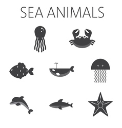Black sea animal set in outlines vector image