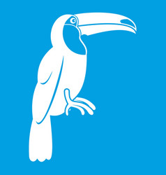 Brazilian toucan icon white vector