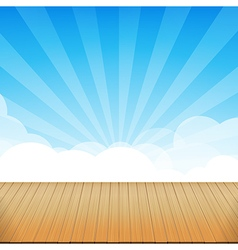 Brown wood floor texture and blue sky sunburst vector