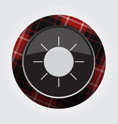 Button with red black tartan - weather sun icon vector