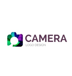 Camera logo design made of color pieces vector image vector image