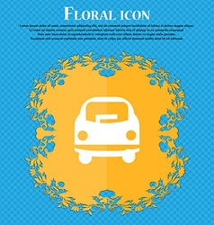 Car icon sign Floral flat design on a blue vector image