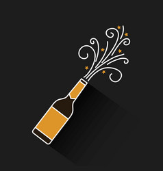Champagne bottle explosion drink celebration vector