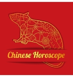 Chinese horoscope background with golden rat vector