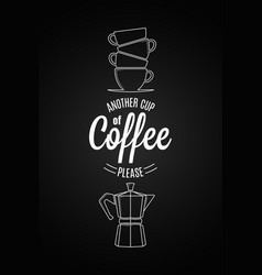 coffee logo design another cup of coffee quote on vector image vector image