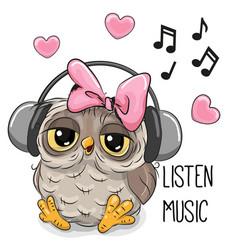 Cute cartoon owl girl with headphones vector