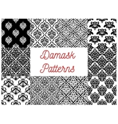 Damask floral ornament seamless pattern set vector