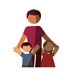 Father with kids vector