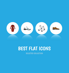 Flat icon clothes set of sneakers male footware vector