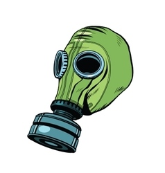 Gas mask vintage rubber green white background vector