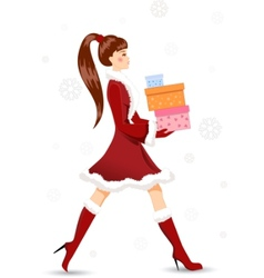 girl with christmas gifts vector image vector image