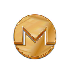 Golden monero coin trendy 3d style icon vector