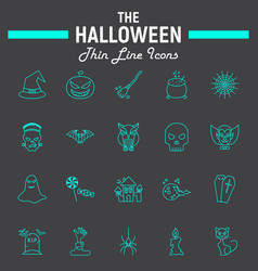 halloween line icon set scary symbols collection vector image